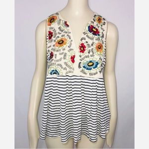 Tiny striped embroidered floral sleeveless blouse
